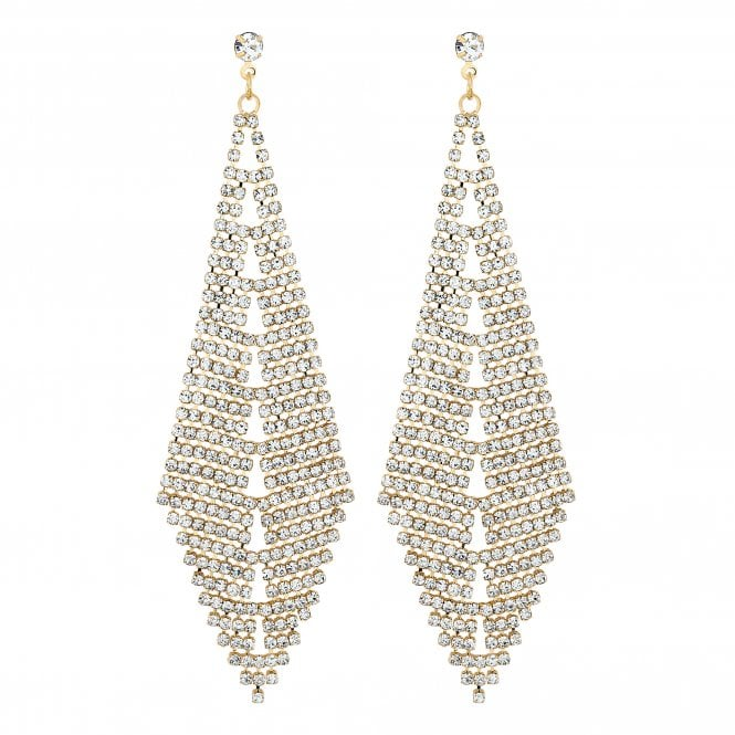 Gold Diamante Statement Drop Earring