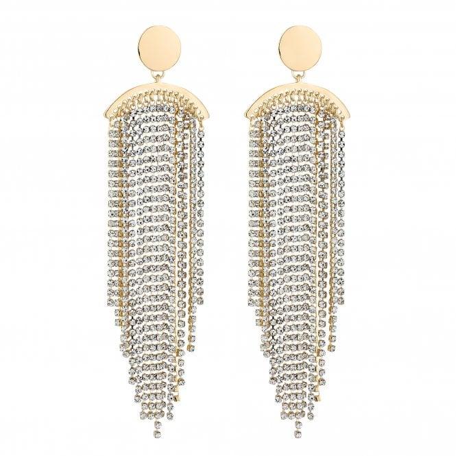 Gold Diamante Tassel Statement Earring