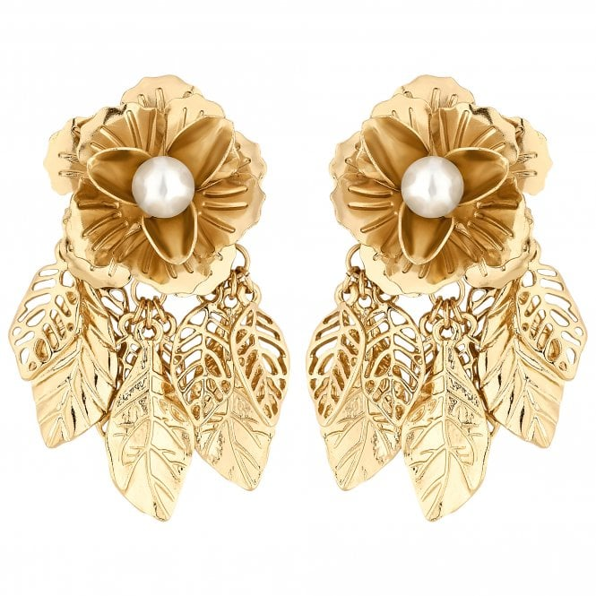 Gold Flower Leaf Drop Earring