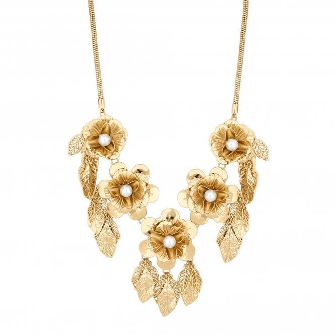 Gold Flower Leaf Statement Necklace