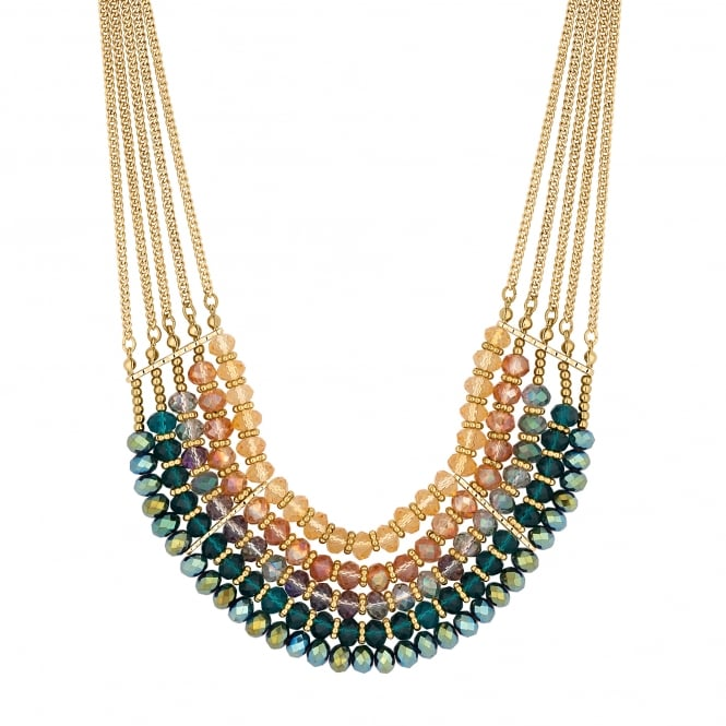 MOOD By Jon Richard Gold Green Beaded Multi Row Statement Necklace