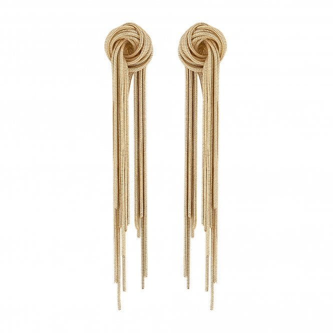 Gold Knot Tassel Drop Earring