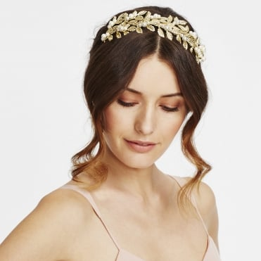 Gold leaf and pearl cluster headband