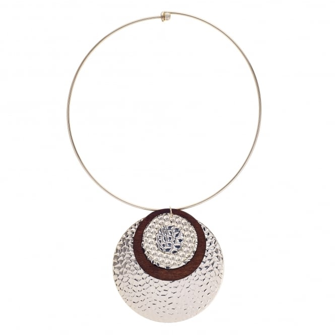 MOOD By Jon Richard Gold multi textured disc torque necklace