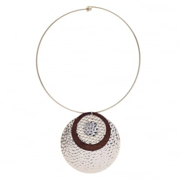 Gold multi textured disc torque necklace