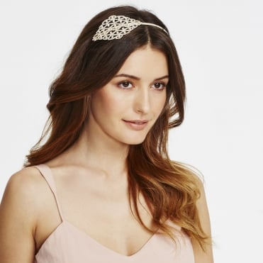 Gold ornate crystal side headband
