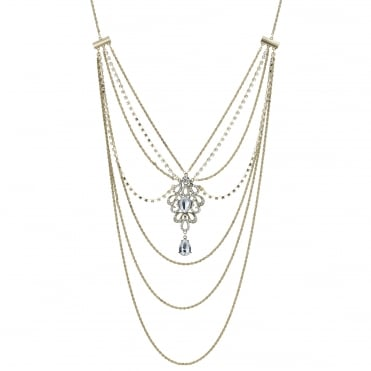 Gold ornate long body chain necklace