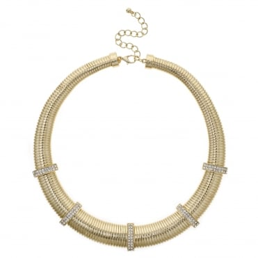 Gold pave chain link necklace