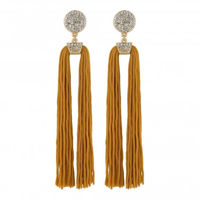 Gold Pave Disc Tassel Statement Earring