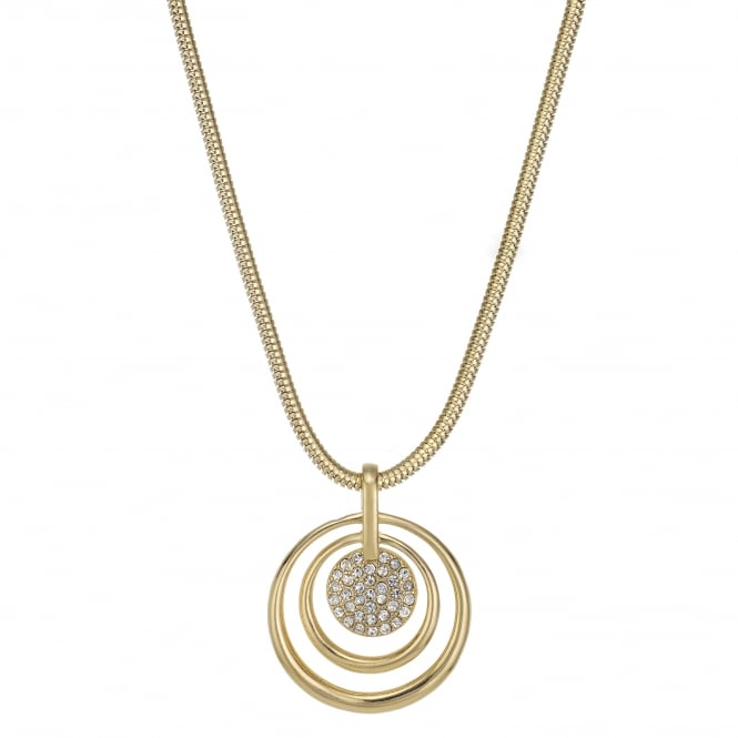 MOOD By Jon Richard Gold Crystal Pave Hoop Pendant Necklace