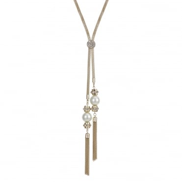 Gold pave pearl long lariat necklace