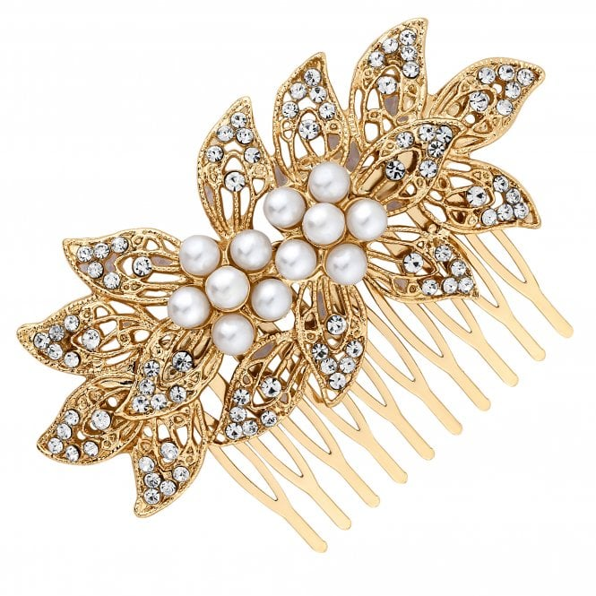 Gold Pearl And Crystal Floral Hair Comb
