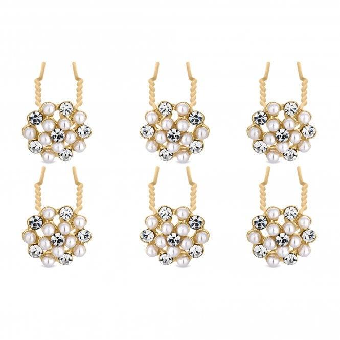 Gold Pearl And Crystal Hair Pin Set