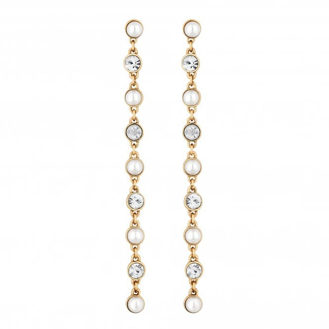 Gold Pearl And Crystal Linear Drop Earring