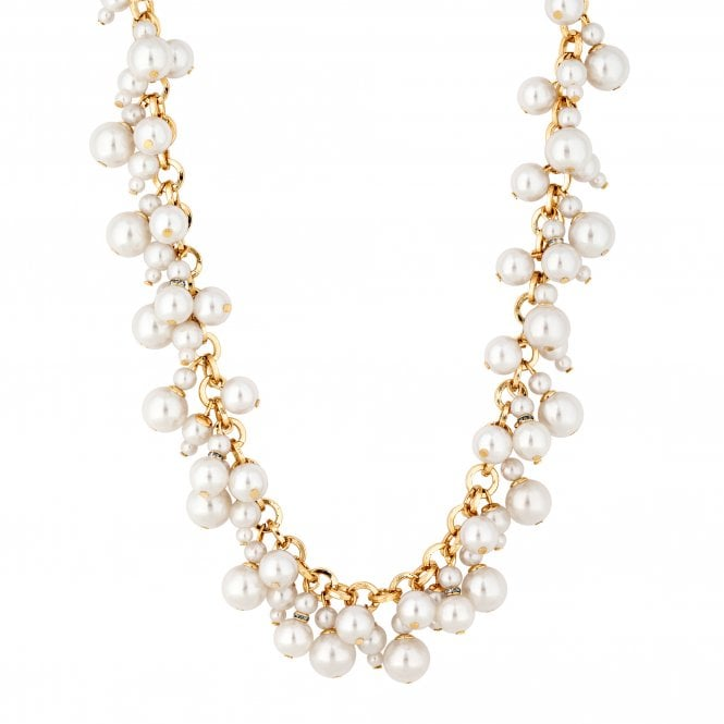 Gold Pearl Cluster Charm Necklace