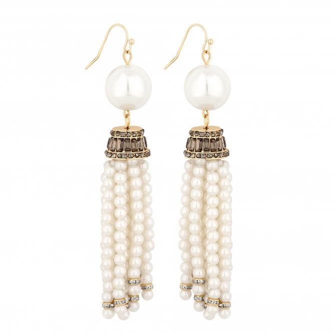 Gold Pearl Tassel Drop Earring