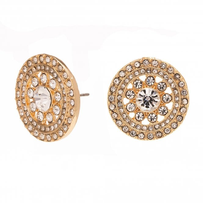 Image of Gold Plated Crystal Floral Round Stud Earring