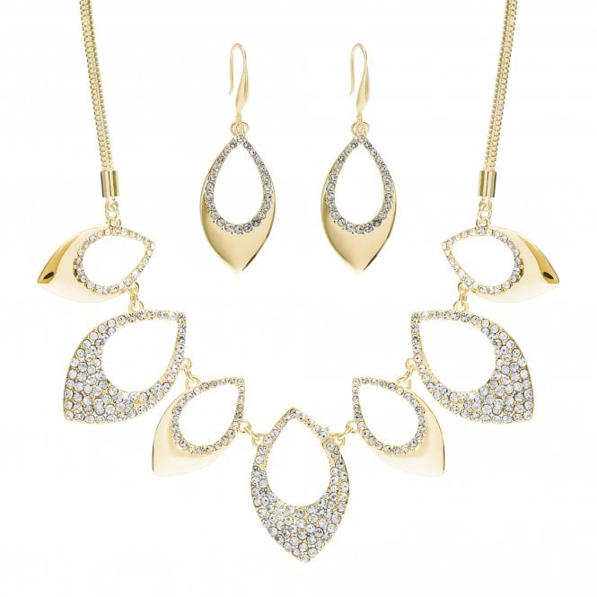 Gold Plated Crystal Pave Shape Necklace And Earring Set