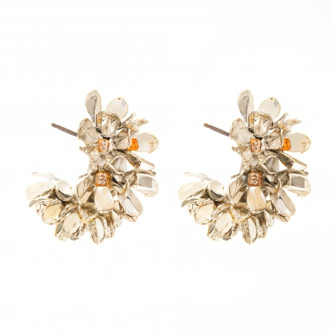 Gold Plated Floral Mini Hoop Earrings