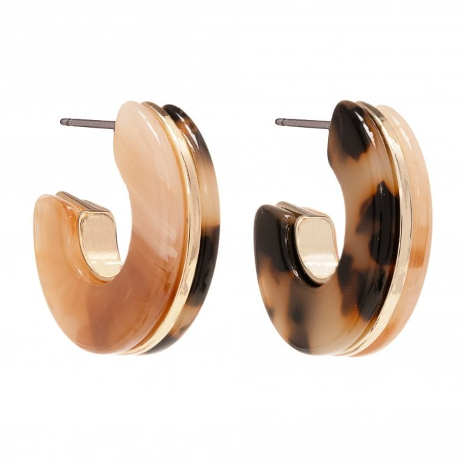Gold Plated Multicolour Resin 2 Way Hoop Earring