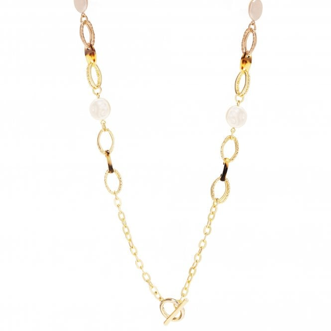 Gold Plated Pearl And Tortoise Shell Resin Link Necklace