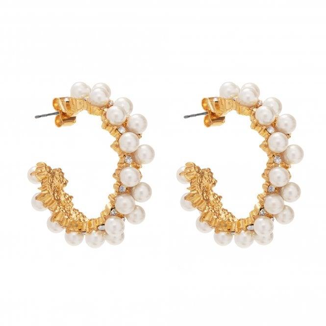 Gold Plated Pearl Encrusted Hoop Earring