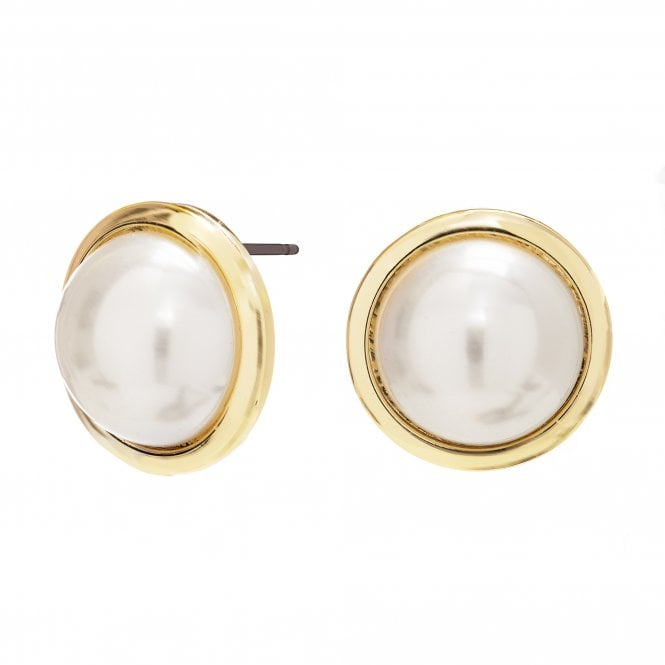 Gold Plated Pearl Large Round Stud Earrings
