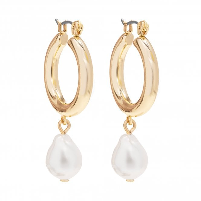 Gold Plated Pearl On Hoop Earring