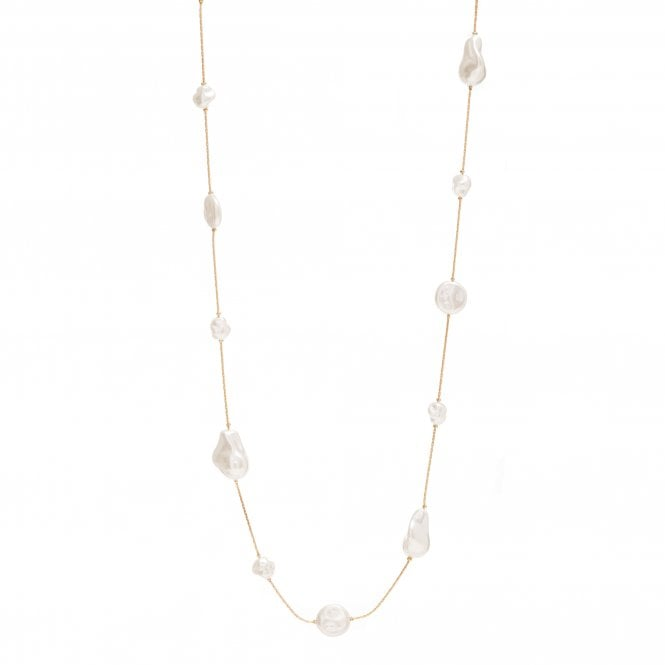 Gold Plated Pearl Rope Necklace