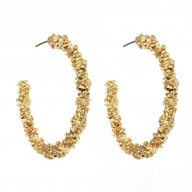 Gold Plated Texture Hoop Earrings