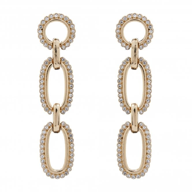 Women's Gold Plated Three Drop Pave Forward Facing Earrings