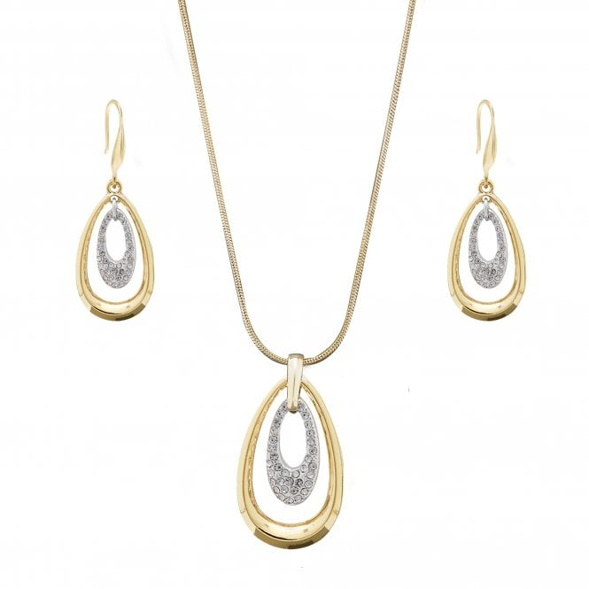 Women's Gold Plated Two Tone Polsihed And Pave Pear Drop Set
