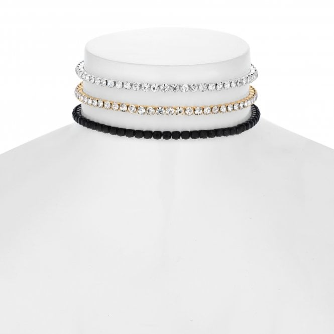 Gold / Silver / Black Diamante Choker Necklace Set