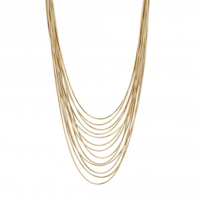 Gold Slinky Chain Multi Row Necklace