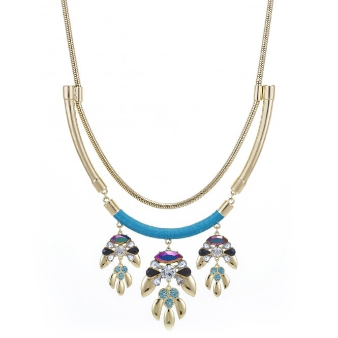 Gold statement necklace with stone cluster drop detail