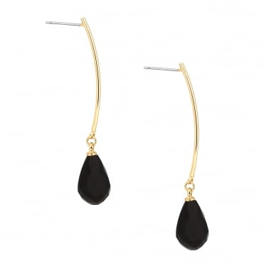 Gold stick and jet teardrop long earring
