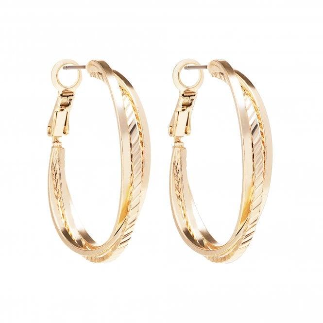 Gold Textured Cross Over Hoop Earring