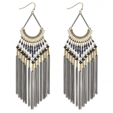 Gold tonal bead and tassel earring