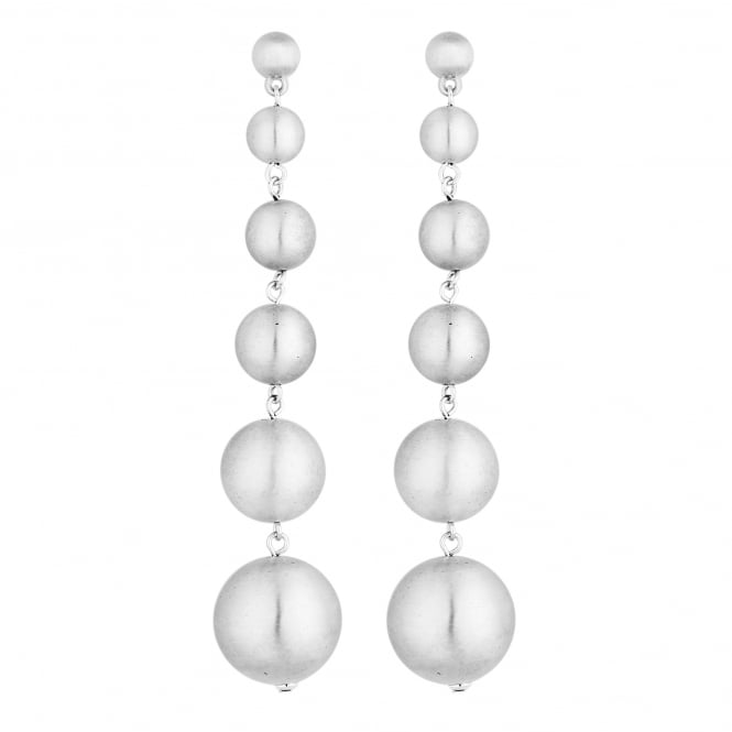 Silver Graduated Ball Drop Statement Earring