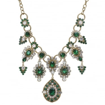 Green crystal ornate collar necklace