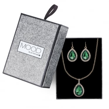 Green crystal teardrop pave necklace and earring set