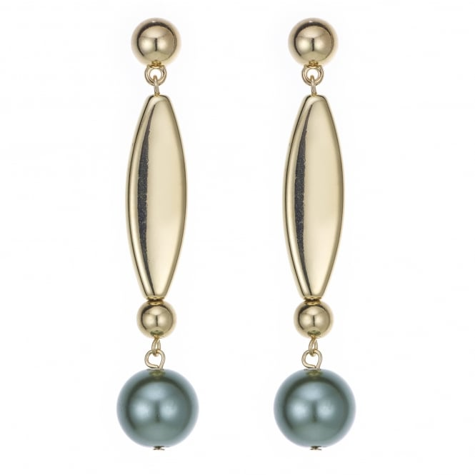 Green pearl stick drop earring