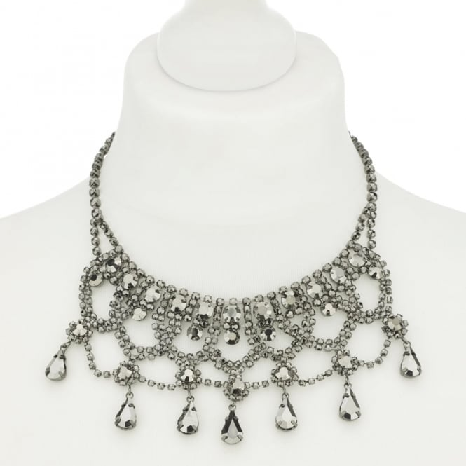 Grey crystal diamante loop choker necklace