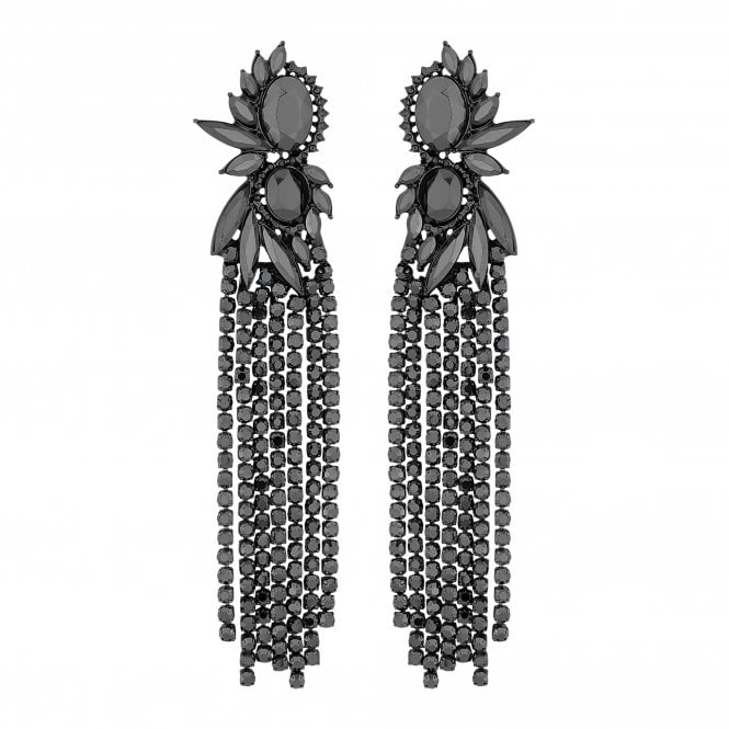 Grey Crystal Shower Statement Earring