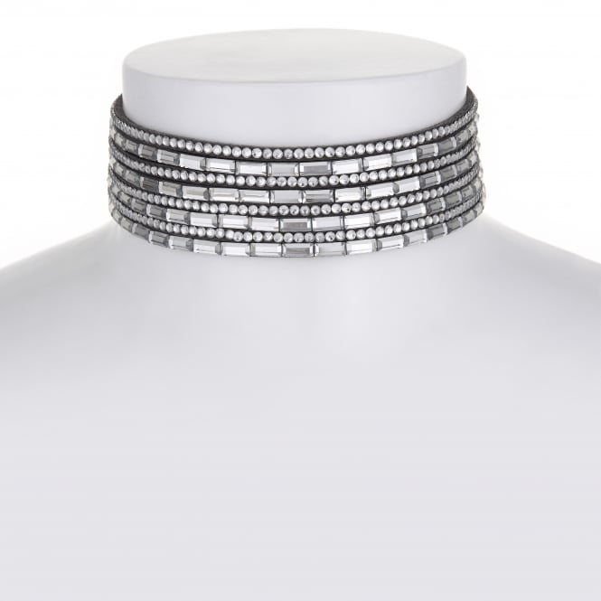 MOOD By Jon Richard Grey Multi Row Crystal Choker Necklace