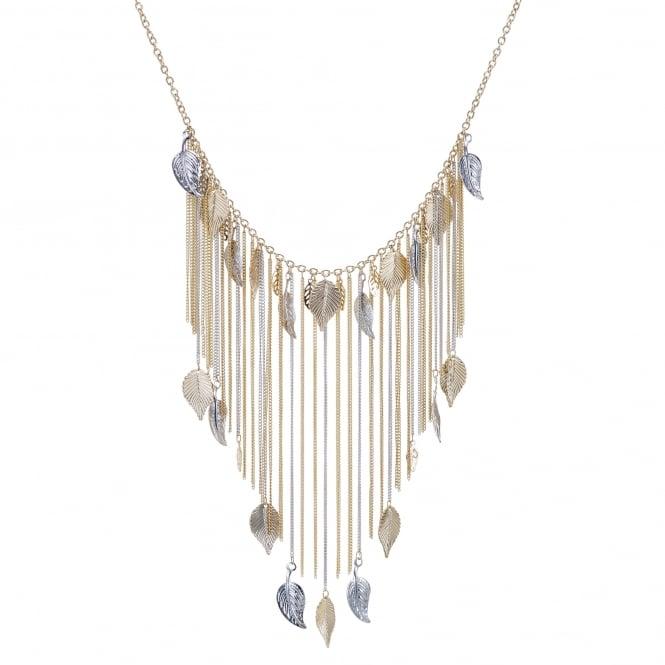Leaf tassel collar necklace