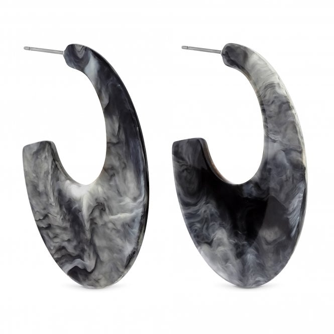 Marble Effect Resin Hoop Earring