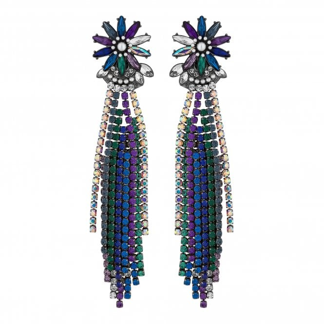 Multi Colour Floral Burst Diamante Statement Earring