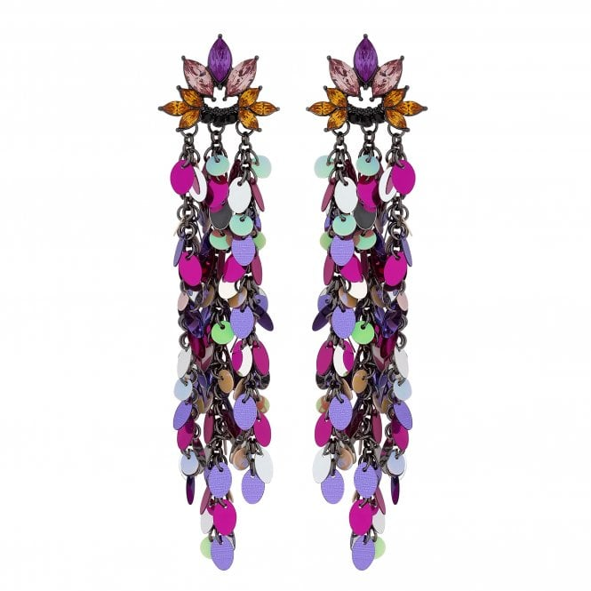 Multi Colour Sequin Tassel Statement Earring