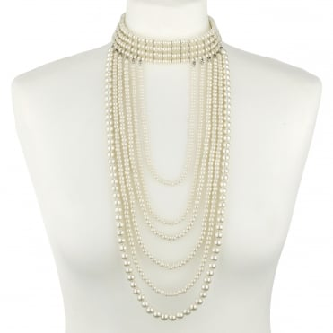 Multi drop pearl choker statement necklace